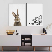 Motivational Quotes Rabbit Wall Canvas Painting PosterAnimal Posters And Prints Nursery Paintings Pictures Babi Nordic Poster