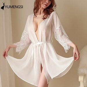 Sexy Lace Robe Kimono Mesh Nightgown Babydoll Lingerie Set
