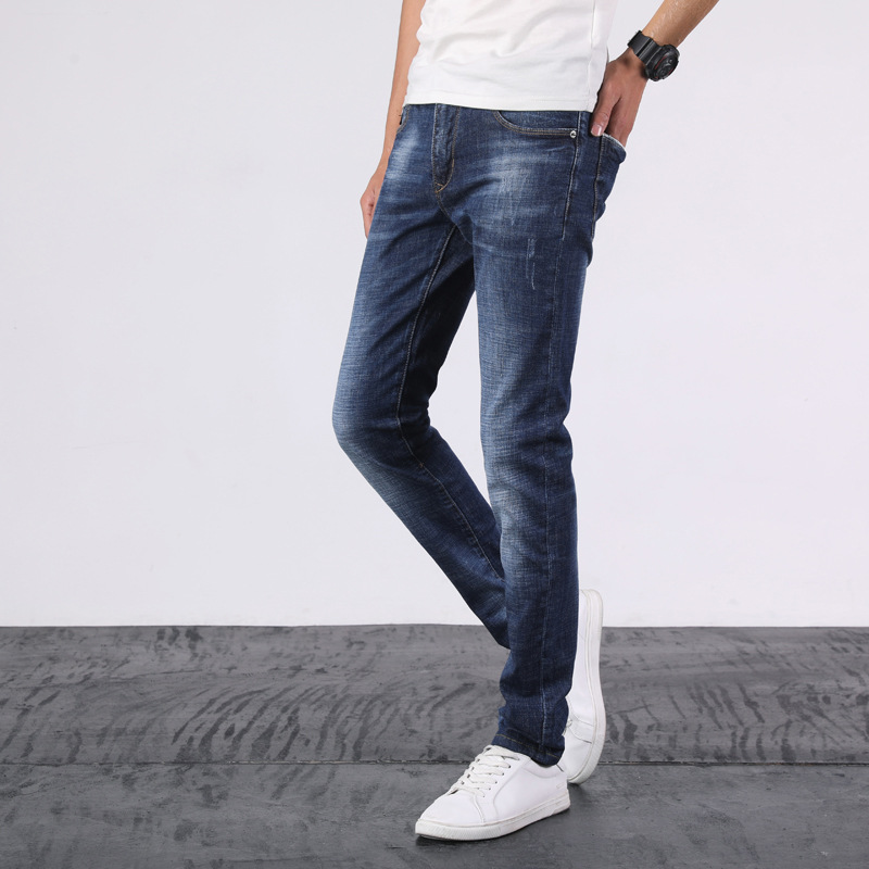 New Style Men Slim Fit Elasticity Jeans Youth Versitile Fashion Skinny Trousers 7639