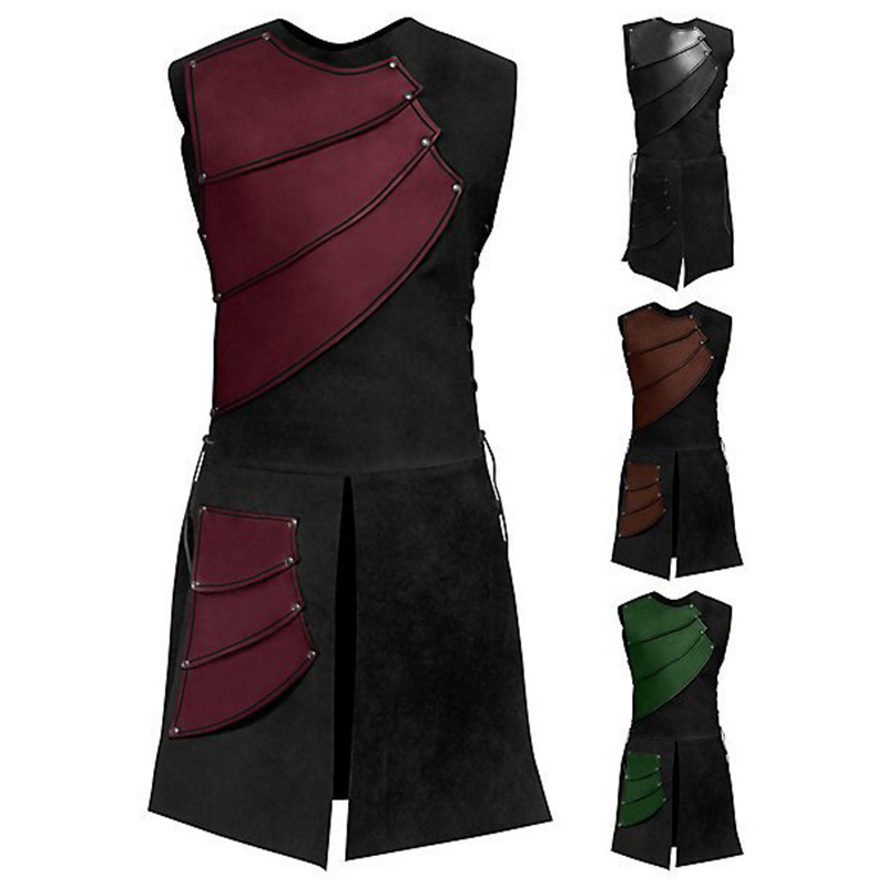 Men Medieval Retro Roman Samurai Archer Coat Larp Knight Hero Party Cosplay Costume Warrior Armour Halloween Outfit Solider Vest