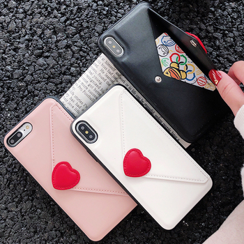 For iPhone 11 Case For iPhone XR XS Max 7 8 Plus Fashion Heart Wallet PU Leather Card Slots For iPhone 11 Pro Max Silicon Case