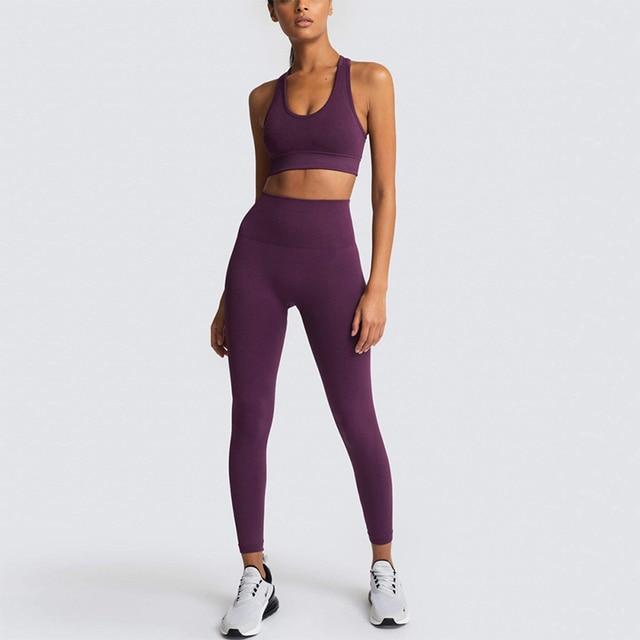 2020 Women s Yoga Set Seamless Sportswear 2 Piece Gym Yoga Clothes Sports Bra Leggings Running
