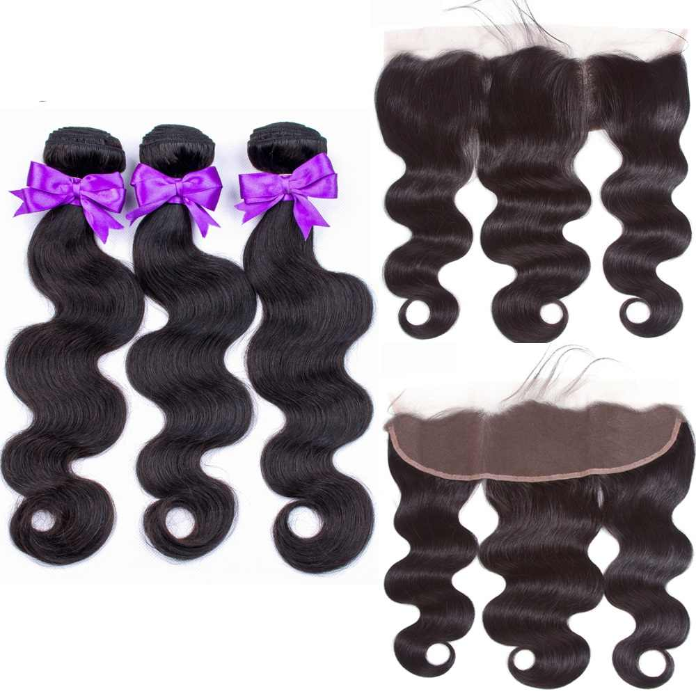 BEAUDIVA Hair 3 Bundles With Frontal Peruvian Human Hair Weave Bundles With Closure Body Wave Bundles With Closure Remy Hair