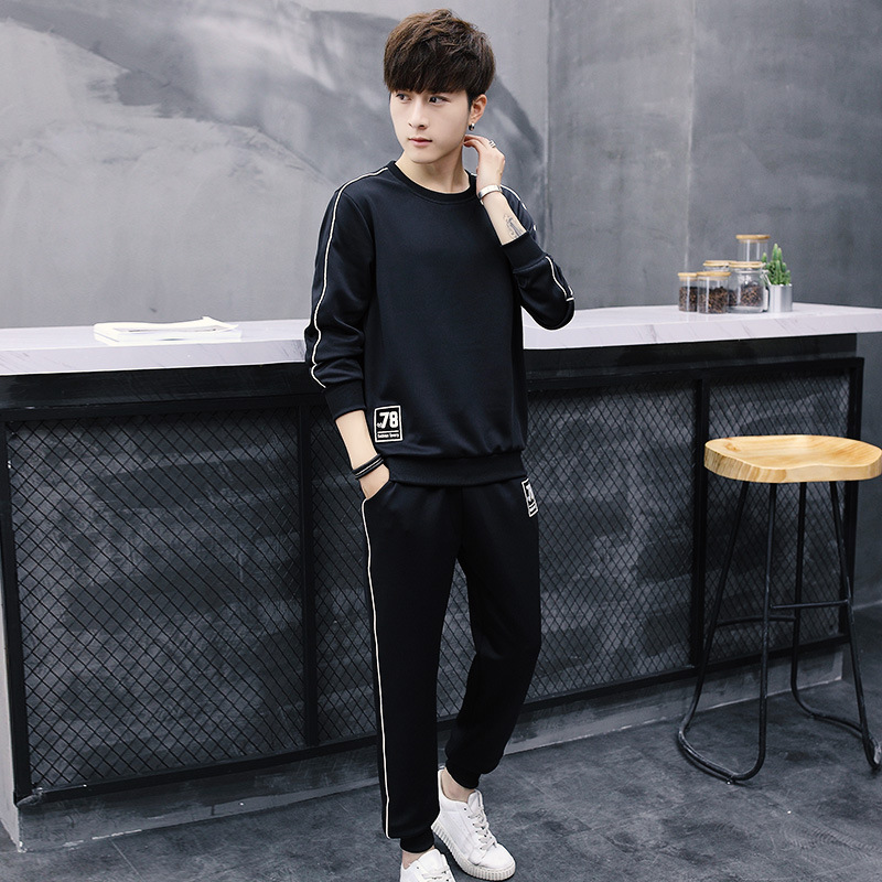 Spring And Autumn New Style Men Hoodie Suit Casual Sports Running Crew Neck Hooded Slim Fit Embroidery 78 Set Men's