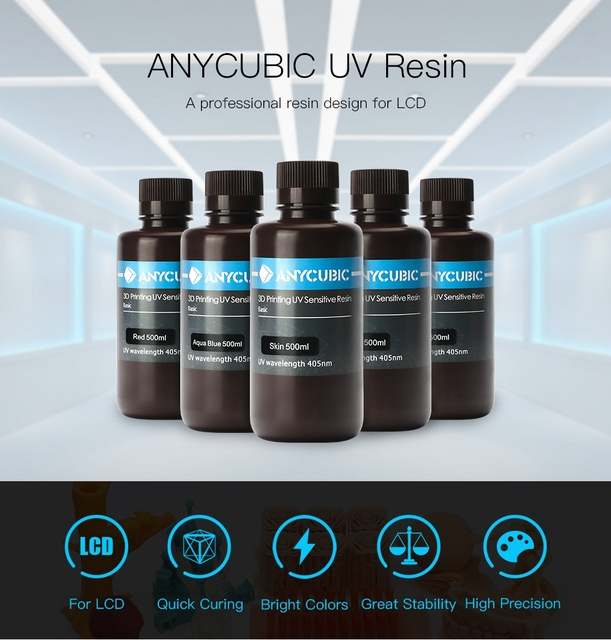 ANYCUBIC 405nm UV Resin For Photon Photon-S 3D Printer Printing Material LCD UV Sensitive Normal 500 ml/1L Liquid Bottle Gadget