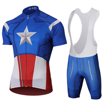 Avengers Marvel Superhero Cycling Jersey Captain America Costume winter Soldier Cycling Kits Bicycle Short Jersey Set