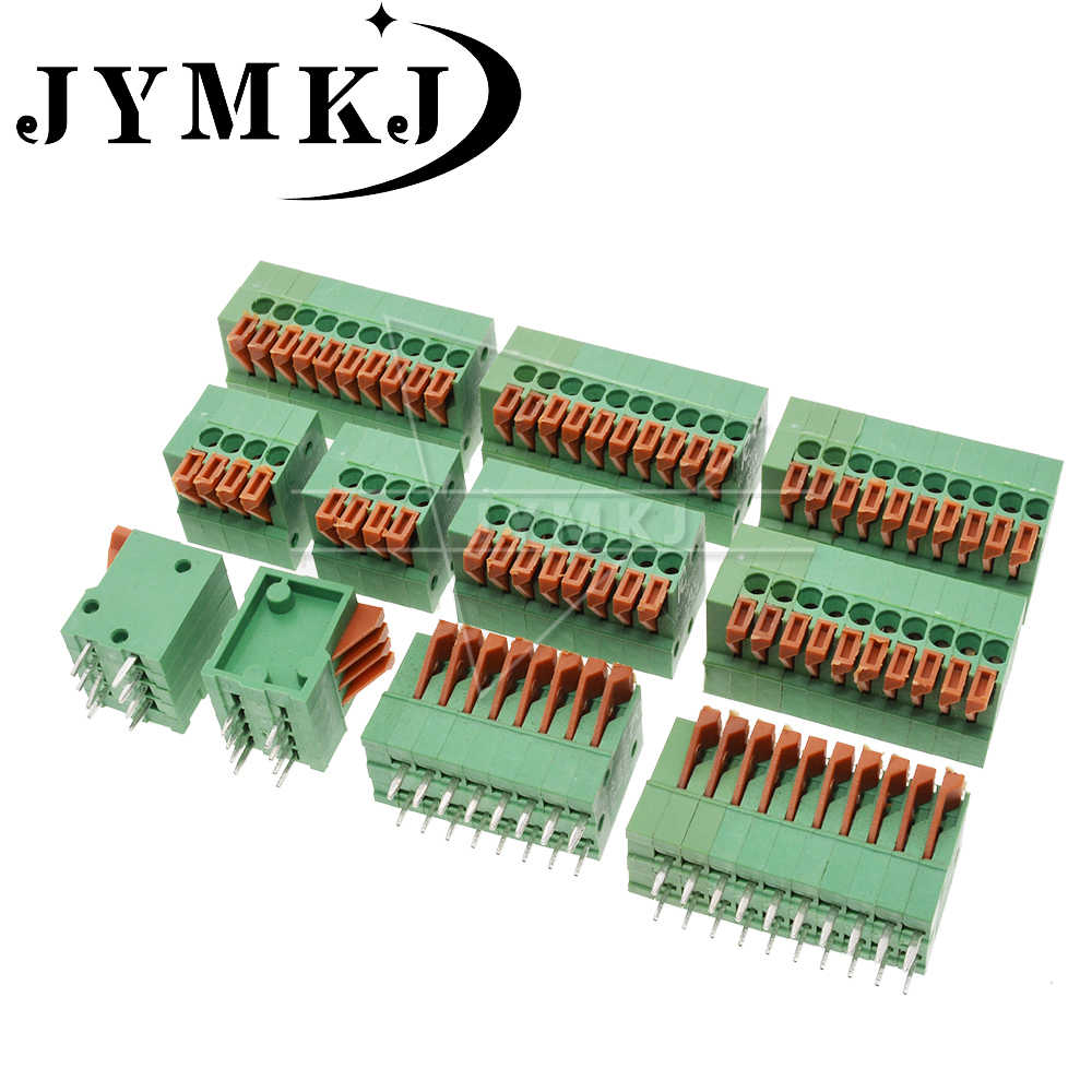 5PCS KF141V 141V 2.54mm Pitch PCB Rechte Voet Connectors 2/3/4/5/ 6/7/8/9/10 Pin Lente Screless Koper Terminal Block