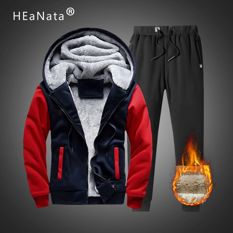 Warm Winter Fleece Two Piece Hooded Hoodies Tracksuit Men Sets Thick Coats+Pants Casual Patchwork Sportswear Jogging Suits 5XL