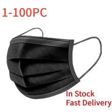 Novo earloop máscara preta simples para ciclismo acampamento máscaras faciais descartáveis capa boca bocas filtro mascarilla escudo máscara