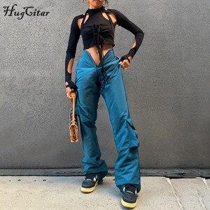Женские брюки-карго Hugcitar, однотонные брюки-карго с высокой талией и рюшами, с карманами, весна-лето 2021