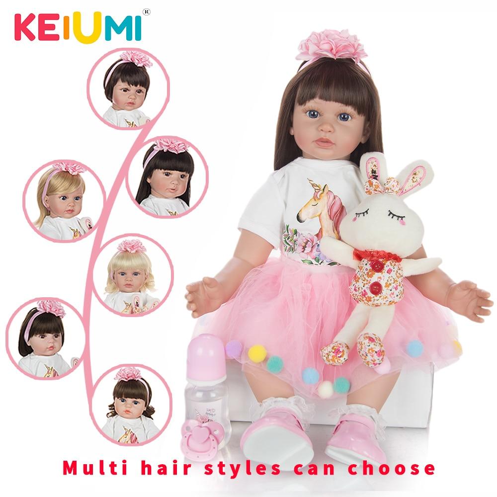 KEIUMI 60 cm mode princesse poupée à la main or boucles cheveux tissu corps en peluche Reborn bébé poupée jouets pour cadeau d'anniversaire en gros