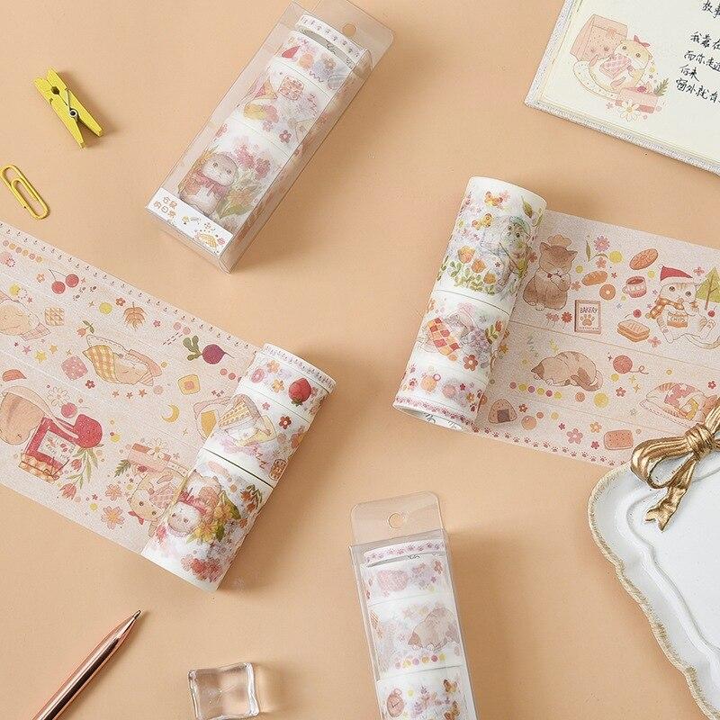 4 Pcs/pack Cat And Hamster Series Paper Washi Tape Adhesive Tape Diy Scrapbooking Sticker Label Masking Tape