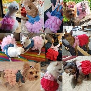 Image 2 - קיץ שמלת עבור כלב חיות מחמד כלב בגדי צ יוואווה חתונה שמלת חצאית גור בגדי אביב שמלות לכלבים ז אן בגדים לחיות מחמד XS L