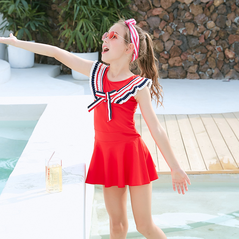 CHILDREN'S Swimsuit Girls Big Boy Fashion Solid Color Flounced Off-Shoulder Students Princess Dress Children One-piece Swimwear