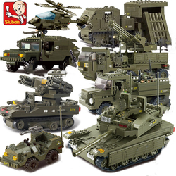 Sluban compatível legoed 2 Tanque Militar da segunda guerra mundial Exército figuras Conjunto Série tropas Blocos Tijolos Brinquedos Modelo de Helicóptero