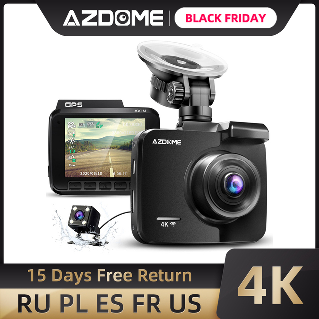 AZDOME GS63H רכב דאש מצלמת 4K HD דאש מצלמה 170 תואר זווית תצוגה רחבה עם GPS WiFi G חיישן לולאה הקלטת חניה ניטור