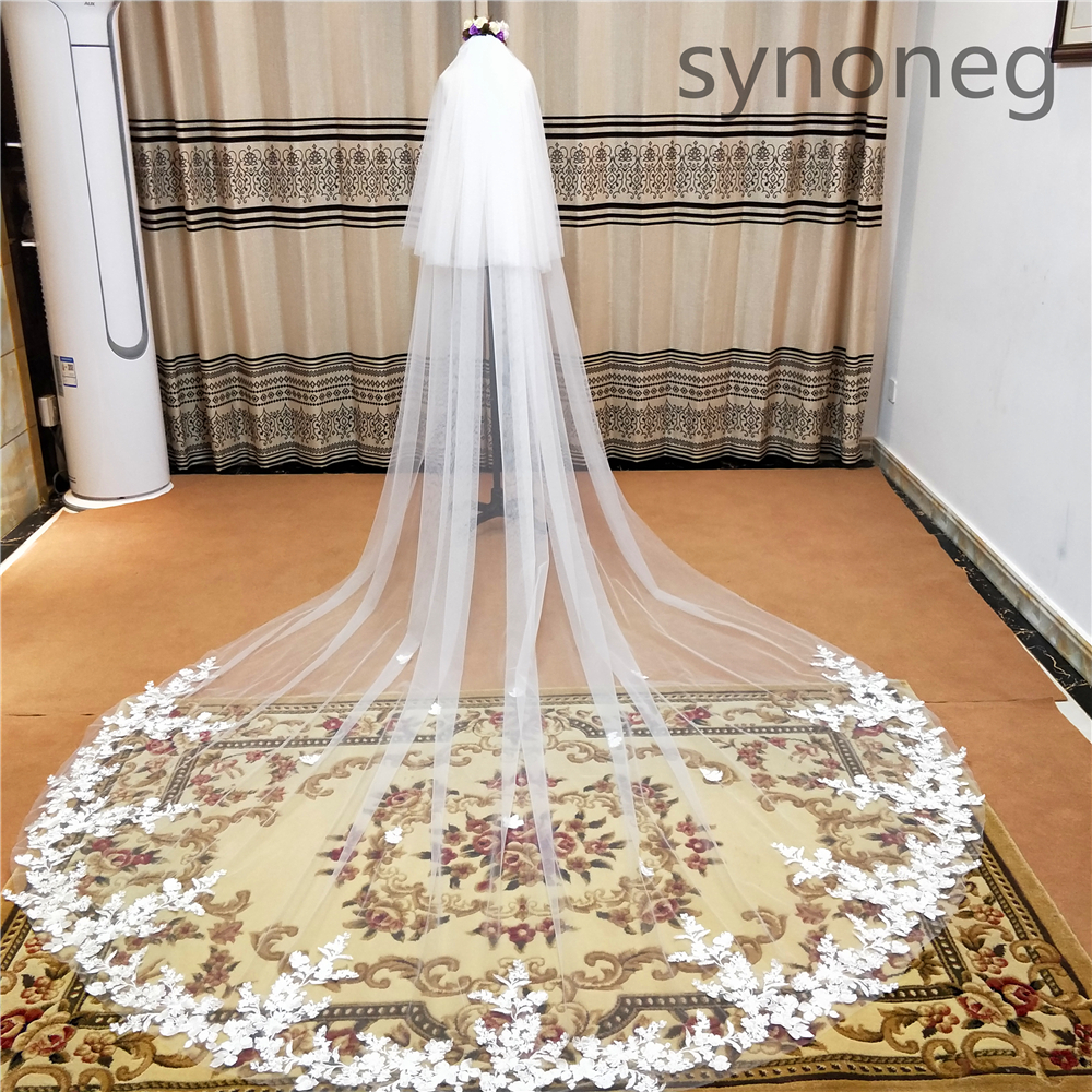 2020Real Photo 3m One Layer Wedding Veil With Comb White Lace Edge Bridal Veils Ivory Appliqued Cathedral Wedding Veil