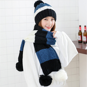 Image 5 - Mode Geschenk Warm Woolen Winter Frauen Caps Und Schals Elegante Schal Hut Set Frauen 2 Arten Von Kappe Schal Sets lange Damen Schals