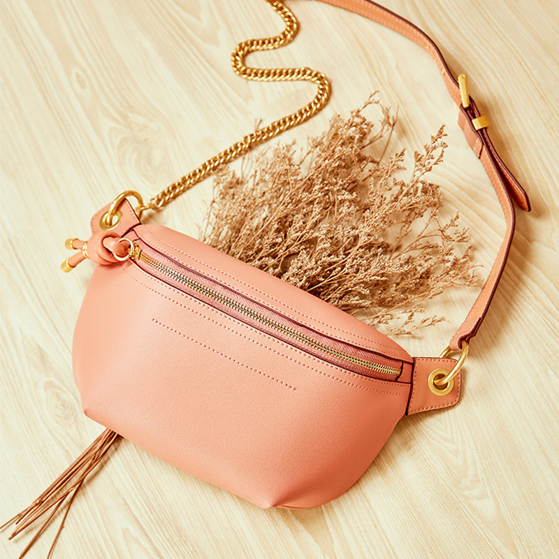 MAHEU High Quality Pink Women Bags Genuine Leather Chest Bag Single Shouder Waist Bag For Cellphone Outdoor Bum Bag For Lady