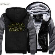 цена Star Wars Sweatshirts Hoodie Men 2018 Hot Winter Warm Fleece Thick Casual Hoodies Jackets Zipper Hooded Black Sportwear Clothes