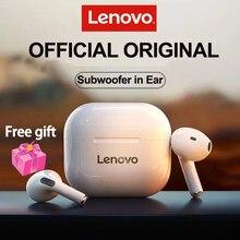 Original lenovo lp40 fone de ouvido sem fio bluetooth 5.0 dupla estéreo redução ruído earbud controle toque longa espera