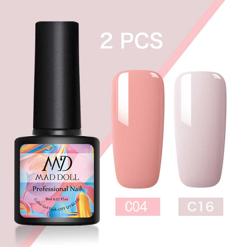 MAD PUPPE Gel Nail Polsih 2 Teile/satz Hybrid Semi Permanent UV LED Base Top Coat Nagel Gel Für Nail art maniküre Set Gel Polnisch