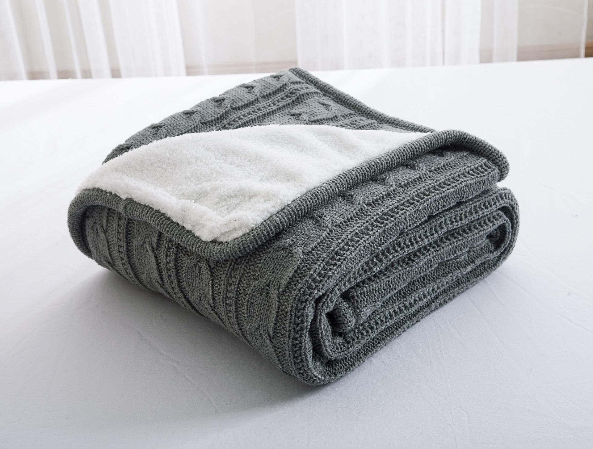 100% хлопок, высокое качество, овечье вельветовое одеяло, зимнее теплое вязаное шерстяное одеяло, диван/покрывало для кровати, одеяло, вязаное... - 4