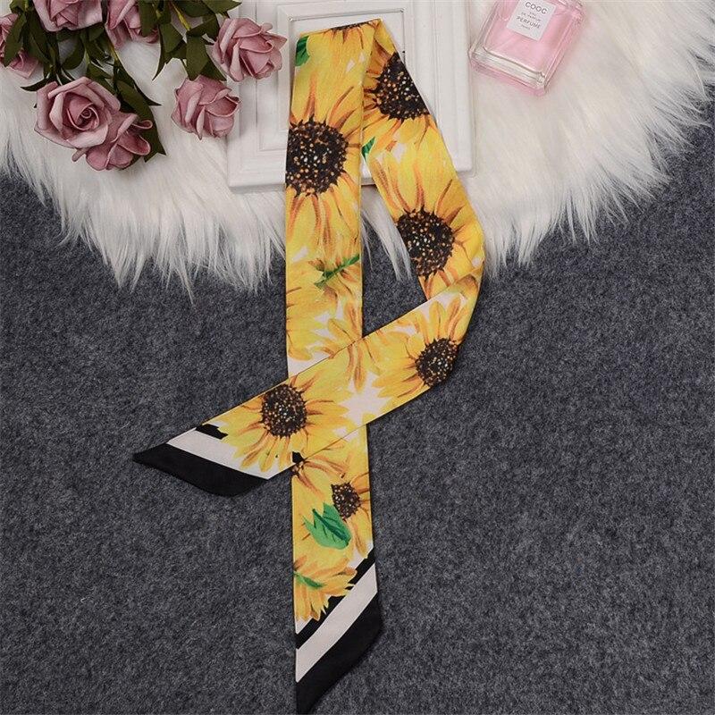 Sunflower Printing Bowknot Luxury Brand Scarf Women Silk Scarf Bag Skinny Scarf 2020 New Design Foulard Femme Hair Headband