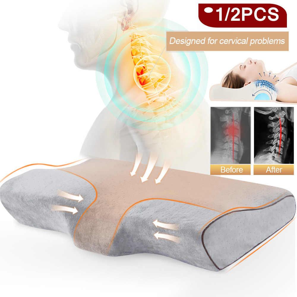 1/2 adet bellek köpük yastık ortopedik uyku masaj yastığı boyunluk yatak yastıklar uyku için elyaf yavaş ribaund servikal