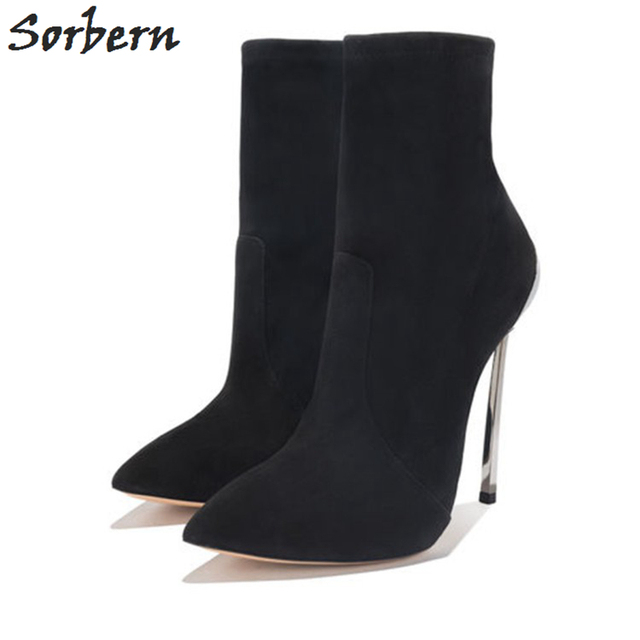 Sorbern Metal High Heel Ankle Boots For