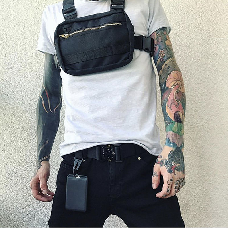 New Chest Bag For Men Tactical Vest Bag Casual Function Chest Rig Bags Streetwear For Boy Waist Pack Male Kanye 072002
