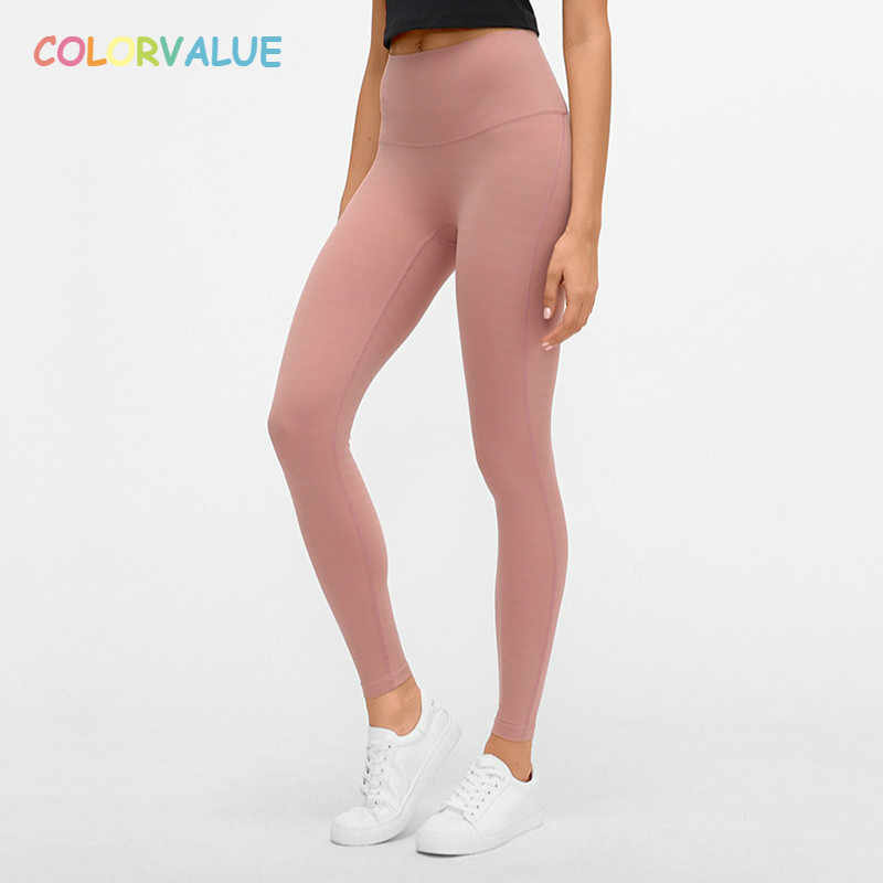 Colorvalue Jacquard Gestreepte Naakt-feel Sport Fitness Leggings Vrouwen Hoge Taille Squatproof Workout Athletic Gym Panty Yoga Broek