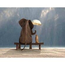 Diy картина по номерам слон Животные Раскраска дождь wall art