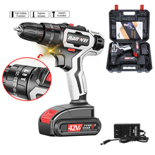 цена на 42VF 7500mAh Electric Screwdriver Cordless Impact Drill Lithium-ion Battery Rechargeable Power Mini Cordless Electric Drills
