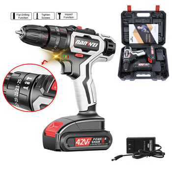42VF 7500mAh Electric Screwdriver Cordless Impact Drill Lithium-ion Battery Rechargeable Power Mini Cordless Electric Drills xltown25v 2000ma impact drill rechargeable lithium battery electric screwdriver multifunction cordless household electric drill