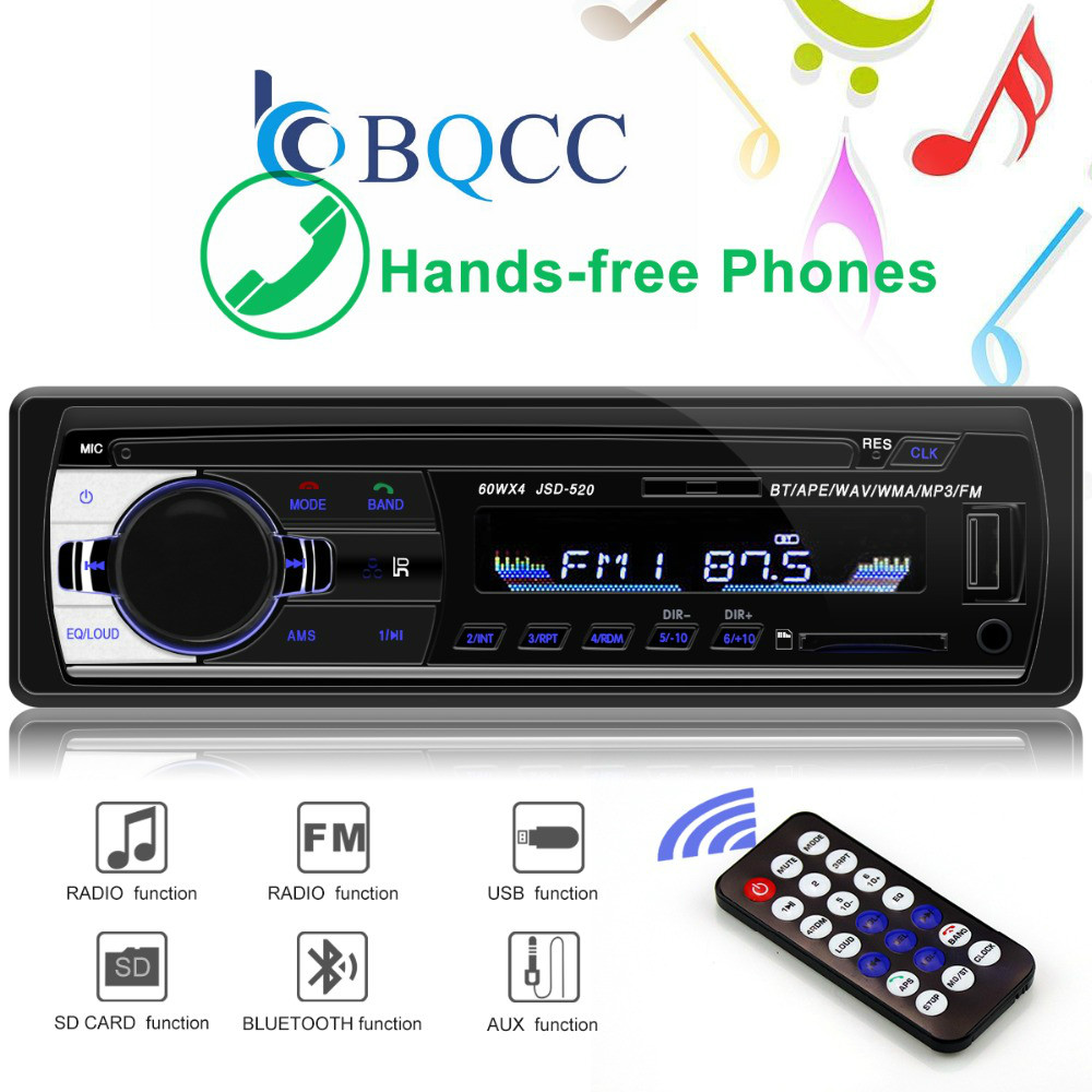 Input-Receiver Autoradio Car-Player Stereo Bluetooth In-Dash 1-Din SD Aux MP3 FM MMC title=