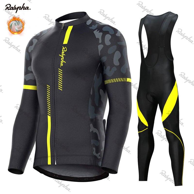 Rapha Winter Thermal Fleece Cycling Jersey Set 2020 Racing Bike Cycling Suit Mountian Bicycle Cycling Clothing Ropa Ciclismo