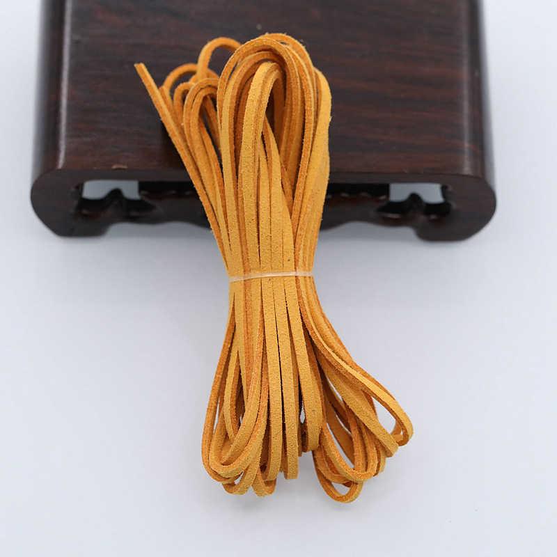 5 metros diy couro corda doces cor plana falso camurça couro pulseira de corda colar feito à mão material 3mm espessura