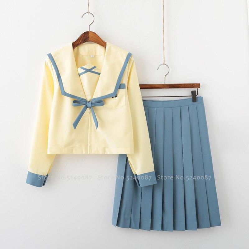 Anime Japanese High School JK Uniform Sailor Suit Women Korean Student Class Outfits Girls T-shirt Pleated Skirt Cosplay Costume