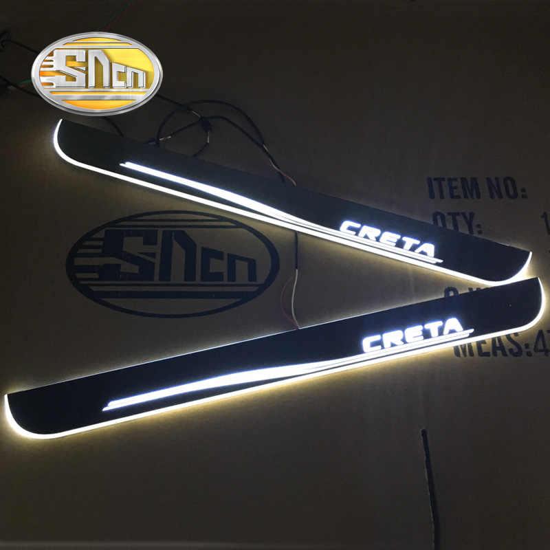 SNCN araba LED kapı eşiği Hyundai Creta için IX25 2015 - 2019 2020 Ultra ince akrilik dinamik LED karşılama işık sürtme plakası pedalı