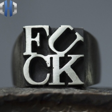 Original Design Handmade Silver Fuck925 Ring Male Personality Letter Female