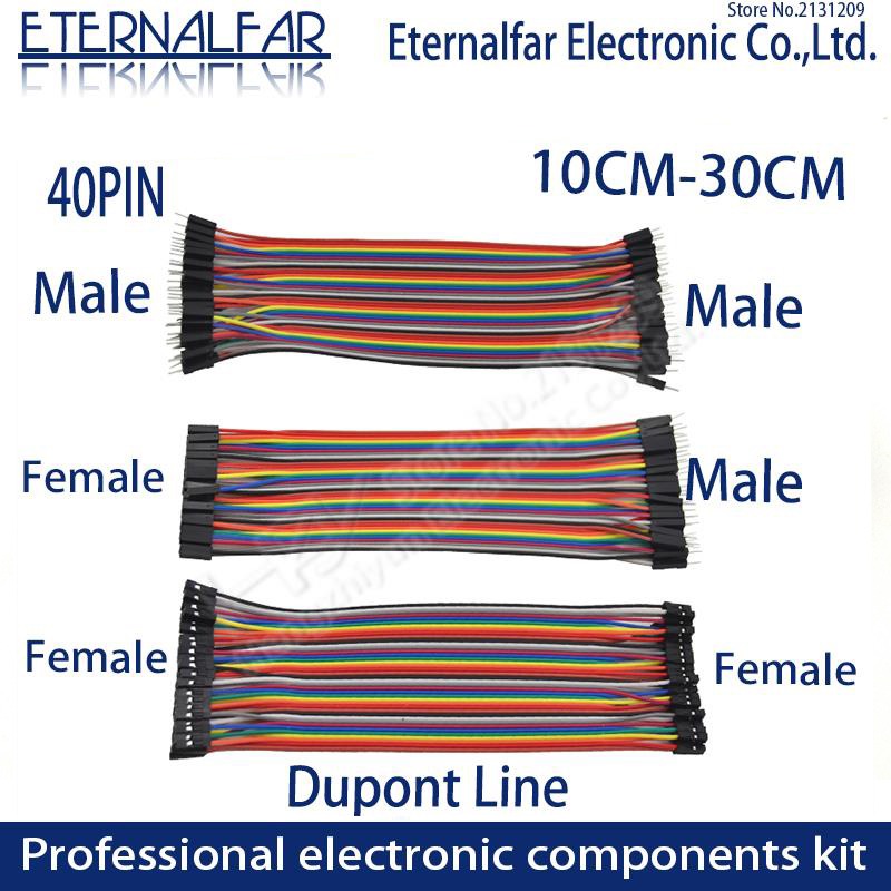 10CM 20CM 30CM 40PIN Rainbow Cable Dupont Line Male Female Head Bridle Jumper Wire Connecting line Cable Breadboard PCB DIY KIT(China)