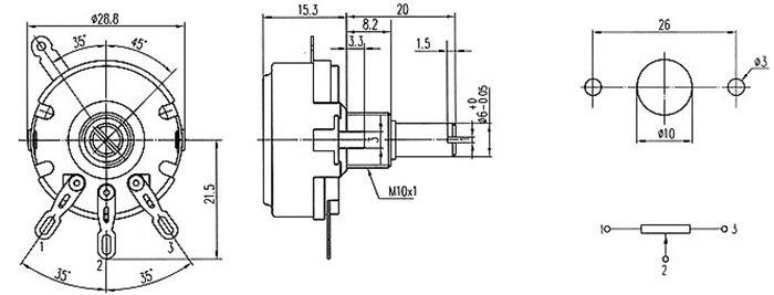 Potenciômetro linear WTH118-2W do carbono do eixo,