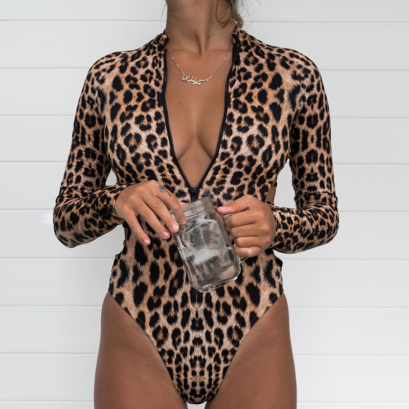 2019 Nova Manga Comprida <font><b>One</b></font> <font><b>Piece</b></font> <font><b>Swimsuit</b></font> Push Up Swimwear Snakeskin Maiô Estampa de Leopardo Monokini Swim Wear Praia Verão image