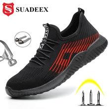 SUADEEX yaz nefes erkek kadın güvenlik iş ayakkabısı çelik burun bot delinme geçirmez inşaat ayakkabı Anti Smashing
