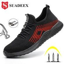 SUADEEX zapatos de seguridad transpirables para hombre y mujer, botas con punta de acero, a prueba de perforaciones, zapatillas de construcción, antirrotura