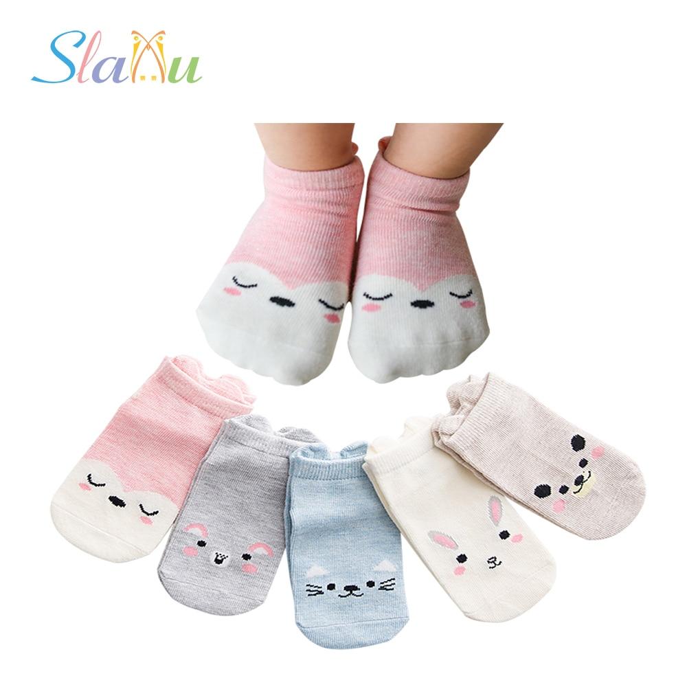 Summer Soft Cotton Kids Socks For Boys Girls Clothing For Children Birthday Gifts Cartoon 5-Pair Breathable Baby Socks For 1-12T
