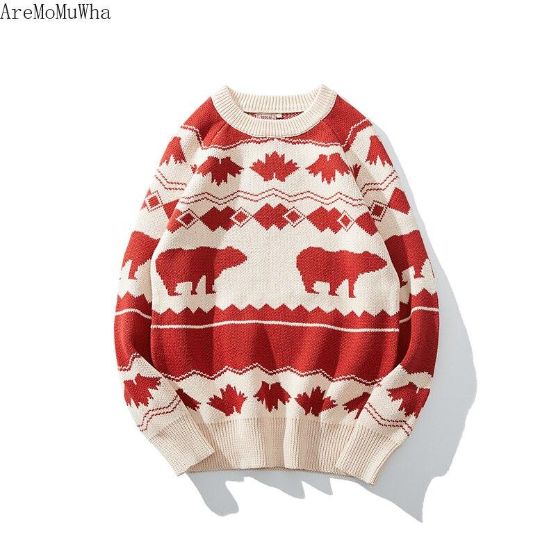 AreMoMuWha 2019 зима новый ретро скандинавский исландский ветер винтажный свитер рукава реглан SlimGreen мужские пуловеры QX1366 - 6