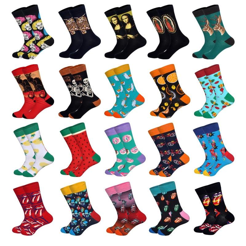 LIONZONE 2019 Newly Long Crew Socks For Men Art HipHop Designr Characters Animals Fruits Joke Tongues Pattern Cotton Socks