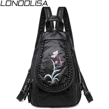Winter Style 3 in 1 Women Backpack Fashion Embroidery Soft Washed Leather Shoulder Bags For Women Backpack Chest bag Bagpack